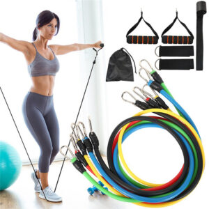 11pcs Fitness Gym Workout Pull Rope Resistance Band Set