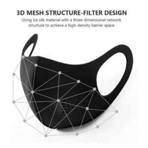 Black 3D Fashion Washable Reusable Unisex Mask