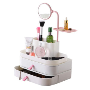 Stylish Makeup Cosmetic Organizer With Rotatable Mirror