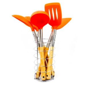5 Pcs Colorful Nonstick Nylon Kitchen Spoon Set With Stand