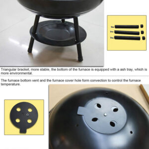 14 Inch Portable Apple Barbecue Charcoal Grill BBQ Grill