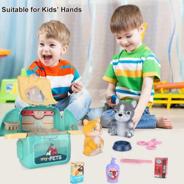 2 in 1 Kids Pet Feeding Pet Care Play Set
